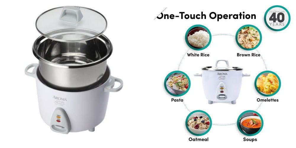 cook many different foods with aroma rice cooker arc 753 sg like brown rice, oatmeal, soups, stew. omelets ad many more.